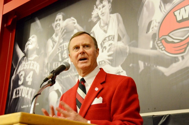 Gary+Ransdell+speaks+at+the+WKU+Athletic+Hall+of+Fame+Alumni+Homecoming+Brunch+at+Diddle+Arena+on+October+20.%0A