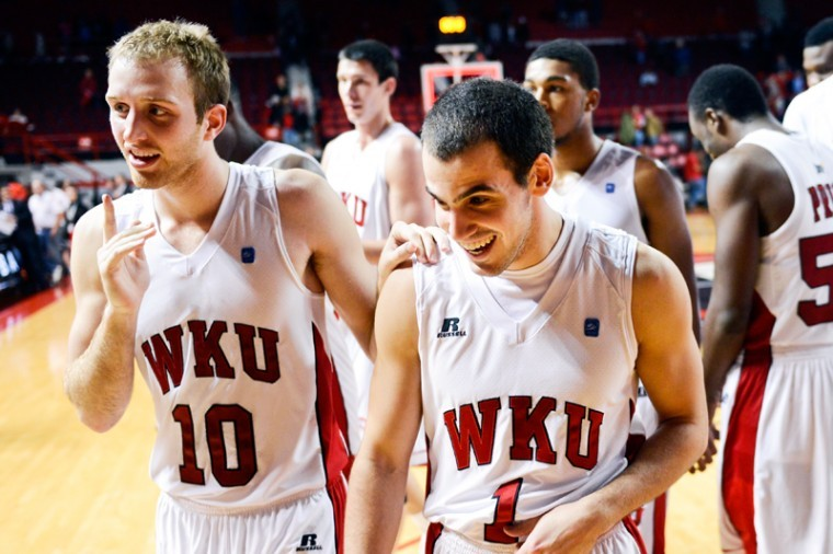 Western+Kentucky+Hilltoppers+guard+Caden+Dickerson+%2810%29+and+Western+Kentucky+Hilltoppers+guard+Kevin+Kaspar+%281%29+celebrate+after+Western+Kentucky+Hilltoppers+first+exhibition+game+of+the+season+against+Campbellsville+University+at+E.A.+Diddle+Arena+in+Bowling+Green%2C+Ky.+on+Monday+October+29%2C+2012.+WKU+won+84-46.%0A
