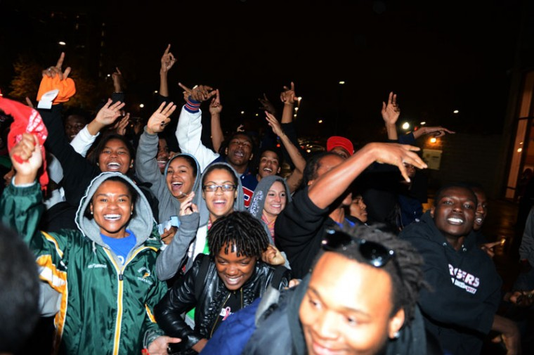 Students+celebrate+outside+of+Pearce+Ford+Tower+after+President+Barack+Obama+was+predicted+to+be+re-elected+on+Tuesday.%0A
