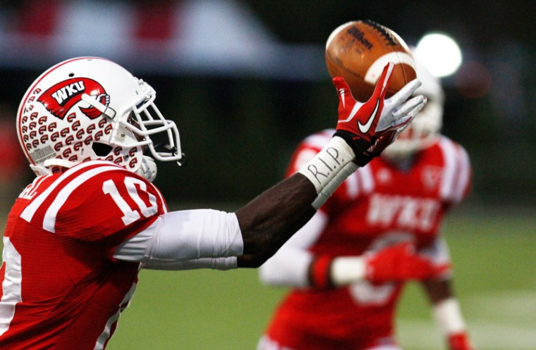 WKU+Sophomore+wide+receiver%2C+Willie+McNeal%2C+%2810%29+catches+the+ball+for+a+touchdown+just+before+overtime+during+the+WKU-ULM+football+game.%0A