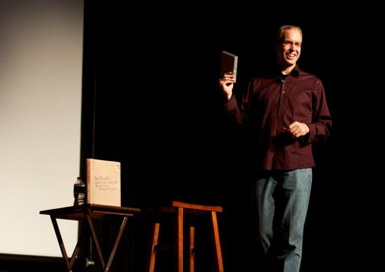 PostSecret's founder Frank Warren speaks to WKU students at Downing University Center.