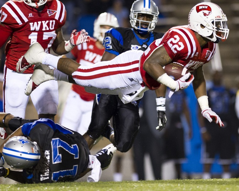 Sophomore defensive back Tyree Robinson during a kickoff return in the fourth quarter against MTSU at Floyd Stadium on Oct. 6, 2011. WKU won the game 36-33.