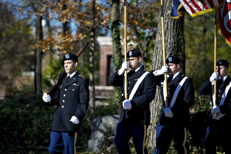ROTC+Cadets+retire+the+colors+of+the+flags+Saturday%2C+Nov.+10%2C+2012+during+the+Annual+Veterans+Day+Wreath-Laying+Ceremony+at+the+Faculty+House+on+Western+Kentucky%27s+campus+in+Bowling+Green%2C+Kentucky.+JOSHUA+LINDSEY%2FHERALD%0A