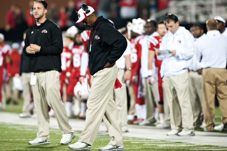 WKUcoach Willie Taggart reacts in the final minutes of the game Nov. 1, 2012 at Smith Stadium. WKU fell to Middle Tennessee 29-34.