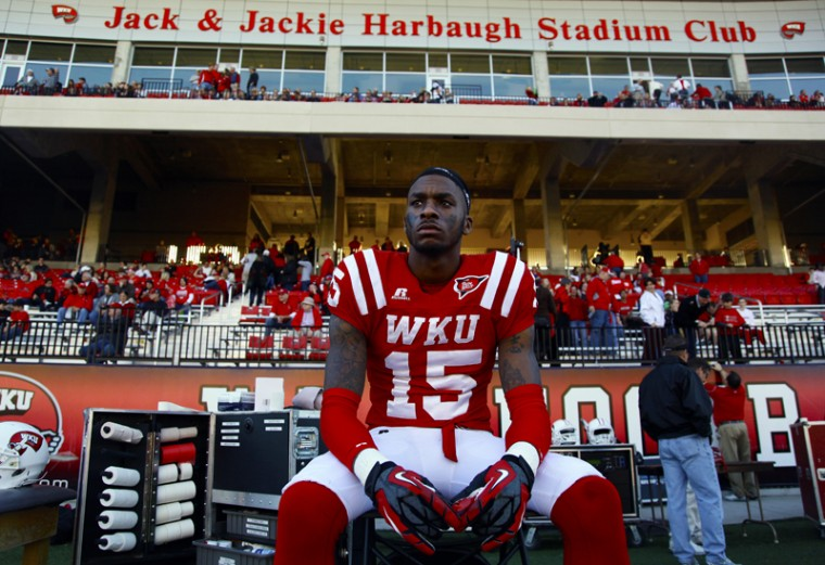 WKU+defensive+back+Darryl+Gilchrist+watches+the+final+plays+of+the+game+Saturday+afternoon.+WKU+lost+to+FAU+37-28.%0A