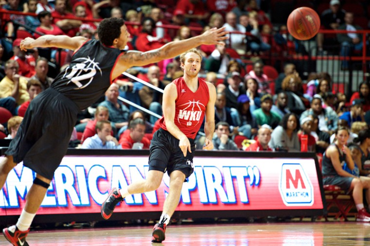 Red+Team%27s+Caden+Dickerson+%28right%29+shoots+the+ball+past+Black+Team%27s+Brandon+Harris+during+Hilltopper+Hysteria+Friday%2C+Oct.+12%2C+2012+at+Diddle+Arena.+Red+Team+defeated+the+Black+Team+22-18.%0A