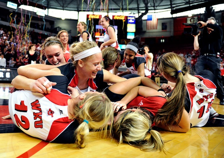 WKU+celebrates+after+winning+the+2012+Sun+Belt+Conference+Volleyball+Championship+3-0+against+North+Texas+on+Saturday+Nov.+17%2C+2012+at+Diddle+Arena.%0A