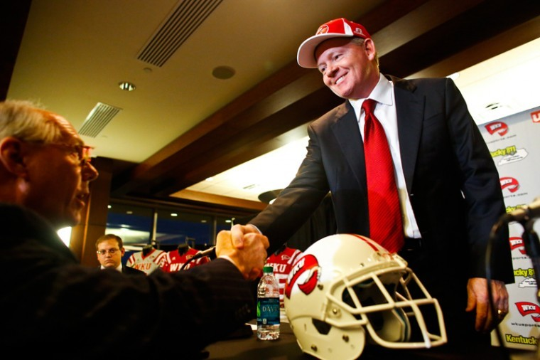 Bobby+Petrino+meets+with+Hilltopper+fans+and+students+after+being+announced+as+the+new+football+coach+at+Smith+Stadium+on+Dec.+10.%0A