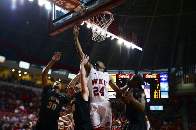 Sophomore+forward+Stephon+Drane+scores+a+lay+up+during+the+first+half+of+Saturdays+game+against+IUPUI.+WKU+won+in+Diddle+Arena+77-57.+CONNOR+CHOATE%2FHERALD%0A