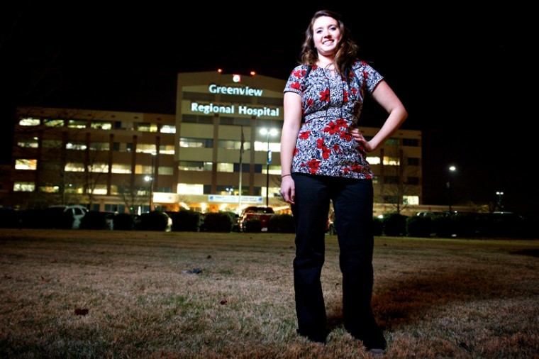 Louisville senior Sami Crider works during the night shift at Greenview Regional Hospital in Bowling Green.