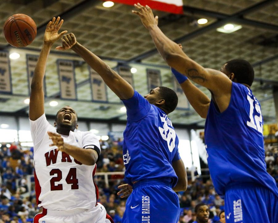 Sophomore+forward+Stephon+Drane+is+fouled+by+Middle+Tennessee+State+forward+JT+Sulton+in+the+second+half+of+the+WKU-MTSU+game+on+Jan.+26%2C+2013.%0A