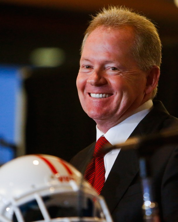Bobby+Petrino+answers+questions+during+a+press+conference+after+being+announced+as+the+new+football+coach+at+Smith+Stadium+on+Dec.+10.