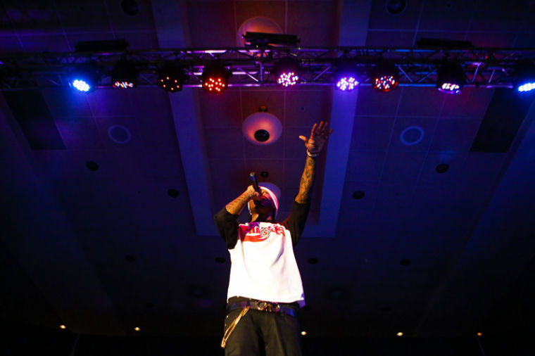 Rapper Future performs during Startin5ive's show at the Sloan Convention Center in Bowing Green, Ky, Feb. 2, 2013.
