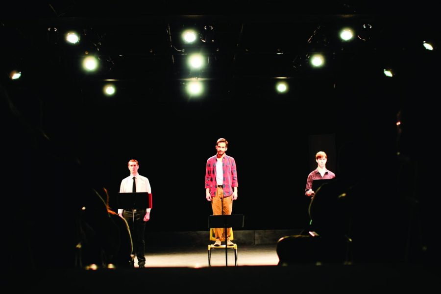 Summerset senior Keifer Adkins, San Antonio _Joshua Sam Miguel and Nashville,TN sophomore Caleb Pless face the audience during the production of Hangman, Sing Me a Song by Nathan Gjerstad. (Katie McLean/Herald)