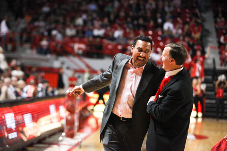 Former+WKU+basketball+player+Dennis+Felton+hugs+president+Gary+Ransdell+after+being+recognized+as+a+member+of+the+all+Diddle+team+during+the+half-time+of+mens+basketball+game+against+Arkansas+State.%0A