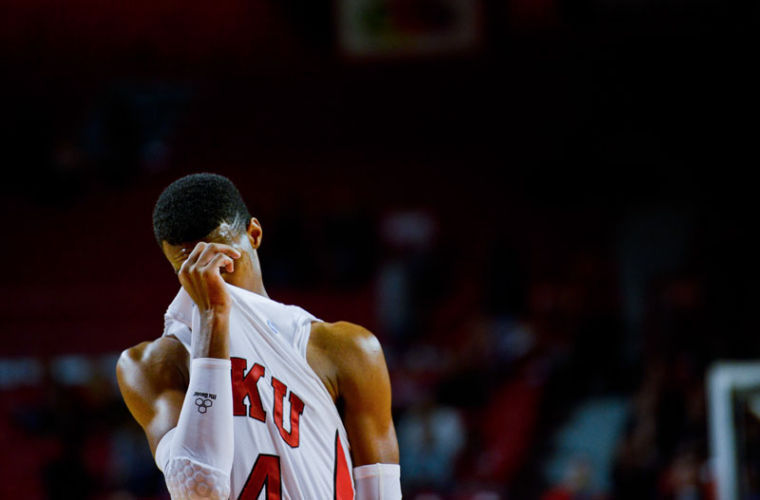 Sophomore+guard+Jamal+Crook+wipes+his+face+before+a+free+throw+against+Austin+Peay.+Crook+recently+came+back+from+a+broken+foot+to+go+0-of-7+from+the+field+against+Troy.%0A