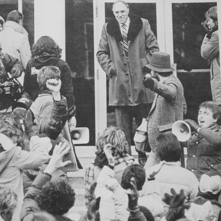 Students rally to support then-President Donald W. Zacharias in 1981 as he fought to preserve funding for WKU.