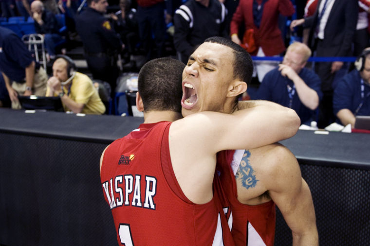 Junior+guard+Brandon+Harris+screams+in+celebration+while+teammate+sophomore+guard+Kevin+Kaspar+hugs+him+after+their+win+in+the+semifinals+Sun+Belt+Conference+Tournament+over+Arkansas+State.+WKU+entered+the+tournament+as+a+six+seed+before+upsetting+the+third+seeded+South+Alabama+Jaguars+and+the+second+seeded+Red+Wolves.%0A