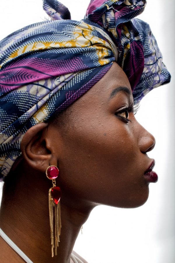 Gloris Akakpo wears Ankara cloth, which is typical of her native country of Togo. The cloth was given to her by her grandmother Afiwa, who still resides in Togo. Akakpohopes to become a model after he moves to New York city in the summer.