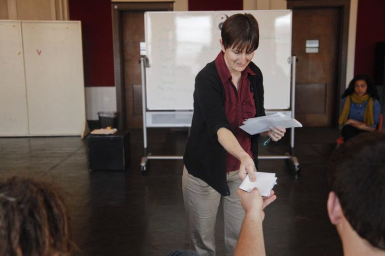 Carol+Jordan%2C+instructor+of+theatre+and+dance+at+WKU%2C+collects+ballots+during+a+meeting+for+the+Theatre+in+Diversion+program+on+Wednesday+in+Gordon+Wilson+Hall.+During+the+session%2C+Jordan+conducted+writing+and+reading+scripts+aloud+before+voting+for+their+favorites+to+perform+in+the+future.%0A