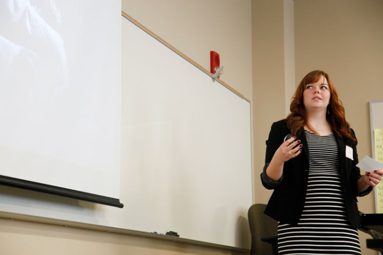 Elizabethtown junior Brenna Sherrill presents her paper,