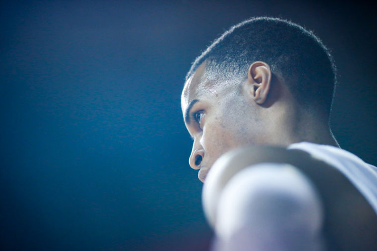 Western Kentucky Hilltoppers guard Jamal Crook (14) stares at his opponents after a play during the WKU vs ULM game at Diddle Arena in Bowling Green, Ky.