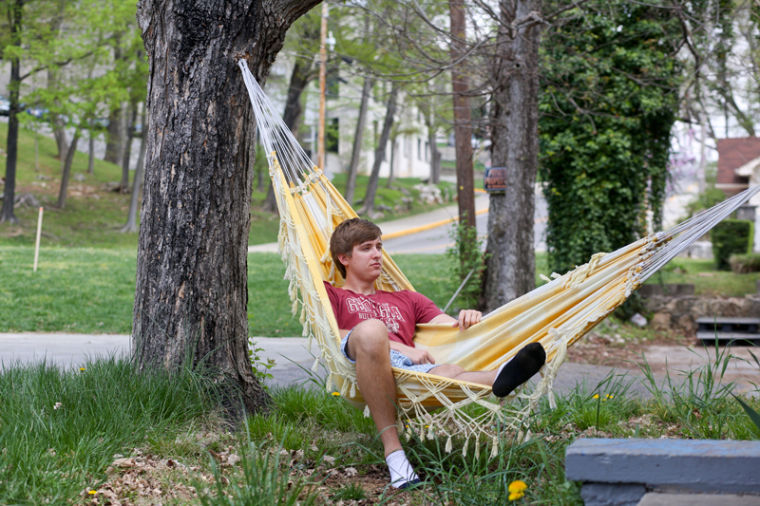 Watkinsville, Ga., senior Chad Cown enjoys relaxing on the hammock in his front yard.