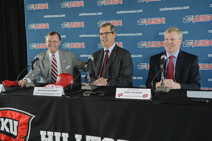 WKU+President+Dr.+Gary+Ransdell%2C+Conference-USA+Commissioner+Britton+Banowsky%2C+and+WKU+Athletic+Director+Todd+Stewart+announce+on+Monday+Western+Kentucky%27s+move+to+C-USA+in+2014.%0A