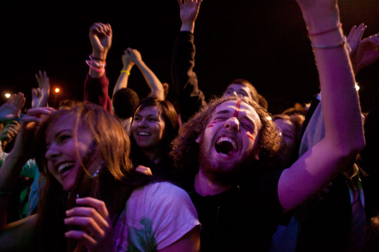 Greensburg, Ky. native Nash Gumm, 21, dances and screams during Robert DeLongs set during Mayhem Music Festival April 26, 2013. His show was a blast. Nash said.