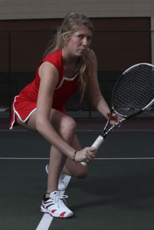 "Louisville sophomore Maddie Phillips has been playing tennis since she was 5 years old. At WKU, she plays either first court doubles or second or third singls. ""I have to play both each match,"" Phillips said."