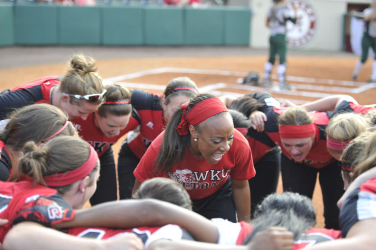 Junior+Tiffany+Gooch+gets+the+Lady+Toppers+team+ready+before+the+game.+WKU+won+3-0+against+USC+Upstate+in+the+NCAA+Regional+Softball+Tournament+at+Rhoads+Stadium+in+Tuscaloosa%2C+Ala.+on+Saturday+May+18%2C+2013.%0A