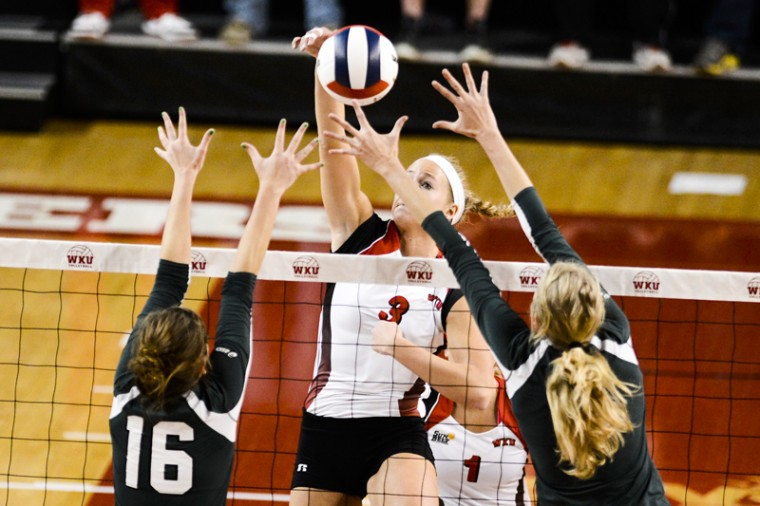 Sophomore middle hitter Heather Boyan hits the ball against North Texas. WKU won the 2012 Sun Belt Conference Volleyball Championship 3-0 against North Texas on Saturday Nov. 17, 2012 at Diddle Arena.