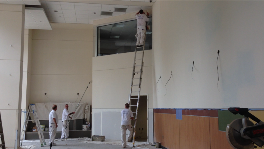 Painters+working+on+renovations+in+the+PFT+lobby.+PFT+will+be+an+all+female+dorm+beginning+the+fall+semester.