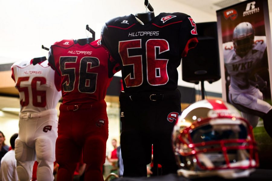 The+new+WKU+football+uniforms+for+the+upcomming+season%2C+as+unveiled+in+Greenwood+Mall.