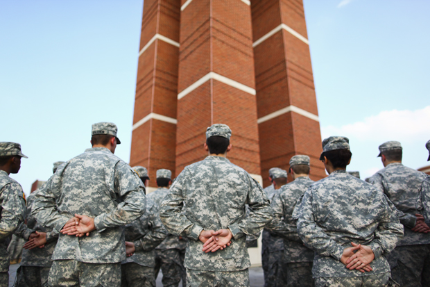 ROTC+cadets+utilize+Military+Student+Services+for+textbooks+and+tuition+assistance.+Here+ROTC+cadets+stand+in+formation+at+the+foot+of+the+Guthrie+Bell+Tower+during+a+memorial+service+in+2010.