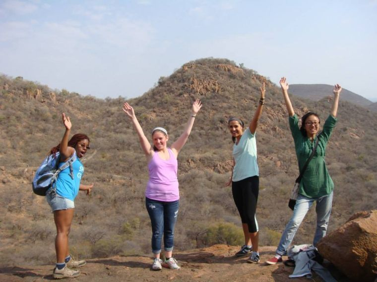 Jamie Doctrow (in pink) , a Louisville sophomore, is studying abroad in Gaborone, Botswana this semester. Doctrow is participating in Gaborone's clinical program as part of her study abroad requirements.