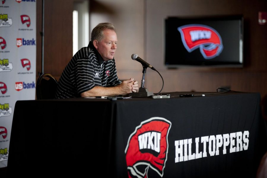Bobby+Petrino+talks+to+reporters+during+a+press+conference+at+L.T.+Smith+Stadium+on+Saturday%2C+August+10.+%28Shelby+Mack+%2F+Herald%29