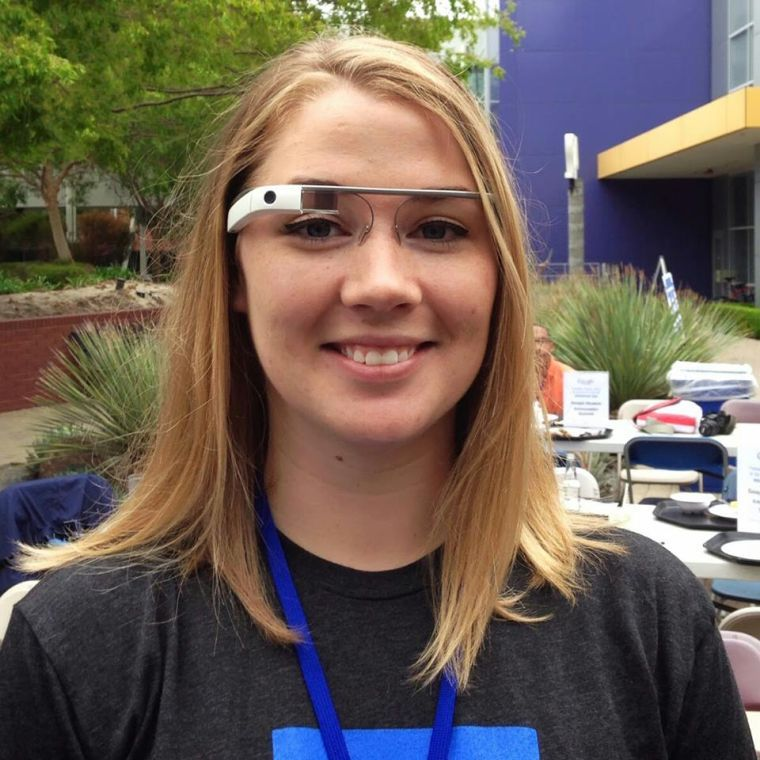 Louisville junior Shelby Rice poses for a photo while wearing a Google Glass prototype. Rice is WKUs Google student ambassador. Rices internship began with a three-day stay in Mountain View, Calif., where Google headquarters is located.