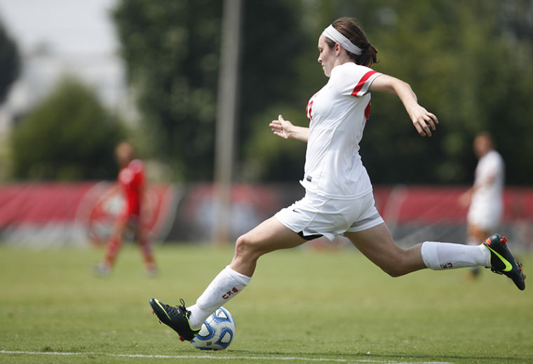 WKU+sophomore+defender+Alanna+Clancey+looks+to+score+a+goal+during+the+Toopers+season+opener+against+Utah.+The+Toppers+would+lose+to+game+0-2.