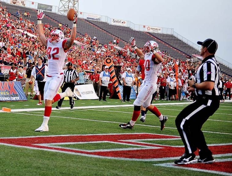 Sophomore Tyler Higbee celebrates after scoring a touchdown on the first drive of the game against South Alabama. WKU plays South Alabama on Saturday Sept. 14, 2015 at Ladd-Peebles Stadium in Mobile, Ala.