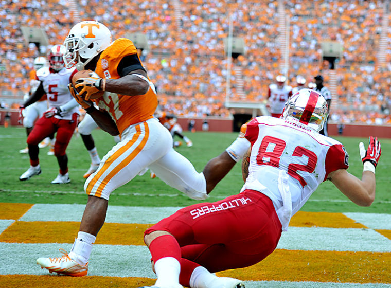 Tennessee sophomore Brain Randolph intercepts a pass in the end zone in the 4th quarter during Saturday's 52-20 loss to Tennessee at Neyland Stadium.
