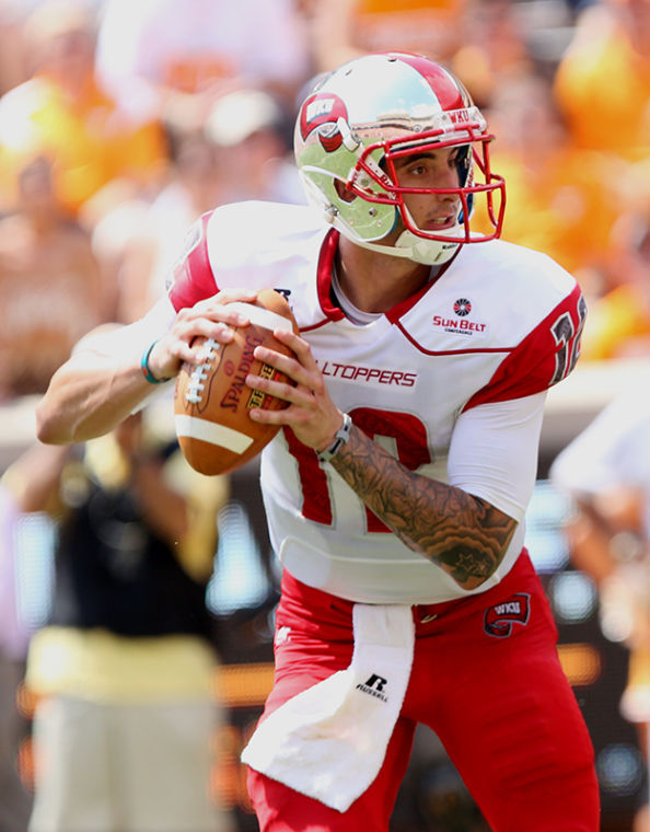 WKU+quarterback+Brandon+Doughty+looks+for+an+open+receiver+during+Saturdays+game+against+Tennessee.