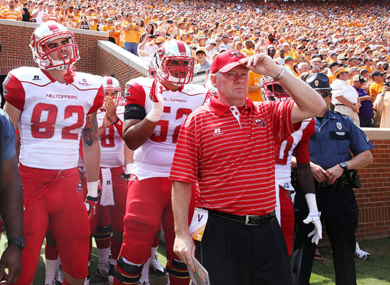 Head+coach+Bobby+Petrino+stands+in+the+tunnel+before+the+game+against+Tennessee+Saturday.