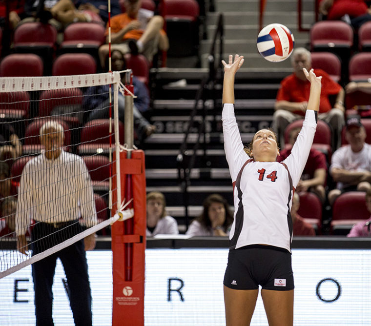Floyd%E2%80%99s+Knob%2C+Ind.+Senior+Melanie+Stutsman+sets+the+ball+during+WKU%E2%80%99s+match+against+UVA+Sept.+13%2C+2013%2C+at+E.+A.+Diddle+Arena+in+Bowling+Green%2C+Ky.+Stutsman+is+on+pace+to+break+the+school+record+for+career+assists+this+season.