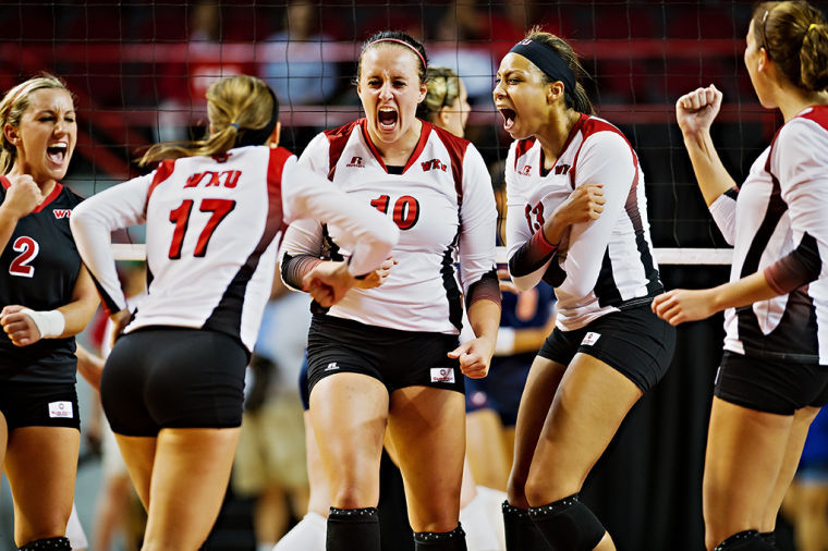 Emotions run high as WKU begins their comeback in game one of their game against Virginia during the WKU invitational tournament on Friday, September 13, 2013. From left is Ashley Potts, Kaelin Grimes, Haley Bodway, Noelle Langenkamp, and Melanie Stutsman. WKU would go on to win the match-up 3-1.