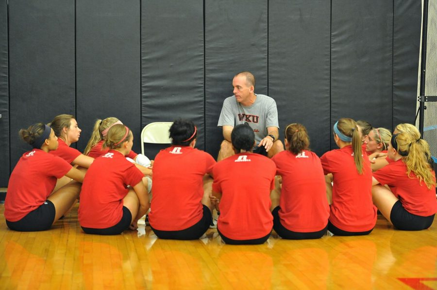 WKU+volleyball+head+coach+Travis+Hudson+talks+to+his+team+before+practice.+Hudson+has+been+the+head+coach+of+WKU+for+over+18+seasons+and+enters+his+19th+season+as+head+coach.