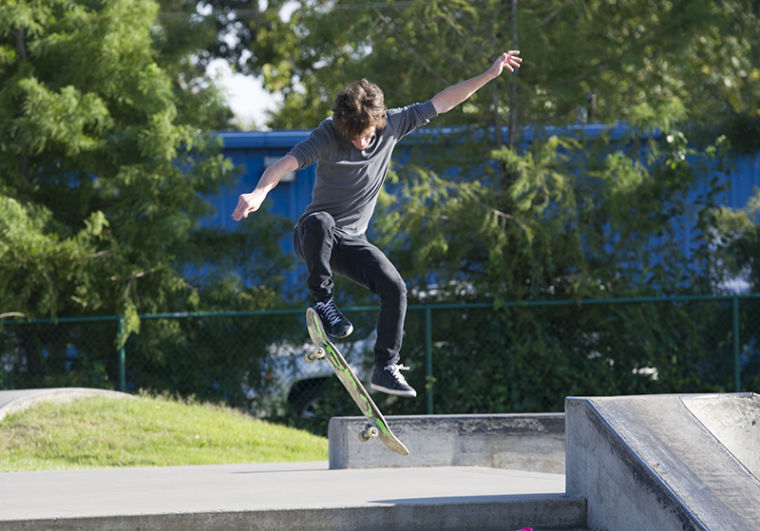 Leitchfield senior Kyle London skateboards at the skate park in Bowling Green on Monday.
