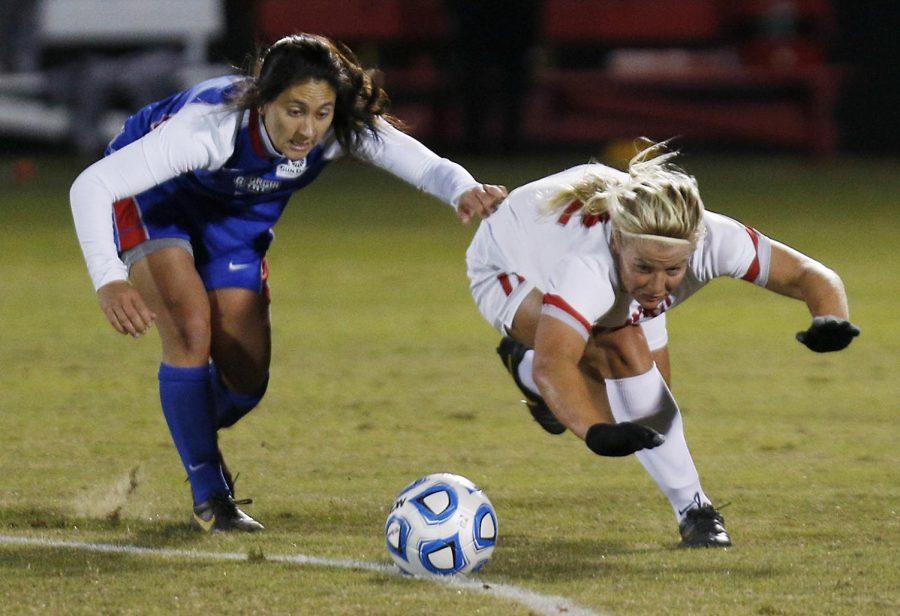 WKU+freshman+forward+Iris+Dunn+and+Georgia+Southern+sophomore+defender+Anna+Hilpertshauser+stumble+while+battling+for+the+ball+during+their+game+Friday+night.+%C2%A0The+Lady+Toppers+lost+the+game+0-1+but+still+clinched+the+Sun+Belt+regular+season+title.%C2%A0