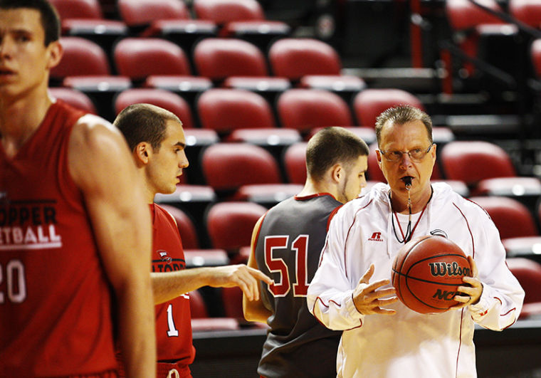 Head coach Ray Harper during the WKU men's basketball team practice Tuesday, Oct. 29, 2013, at E.A. Diddle Arena in Bowling Green, Ky.