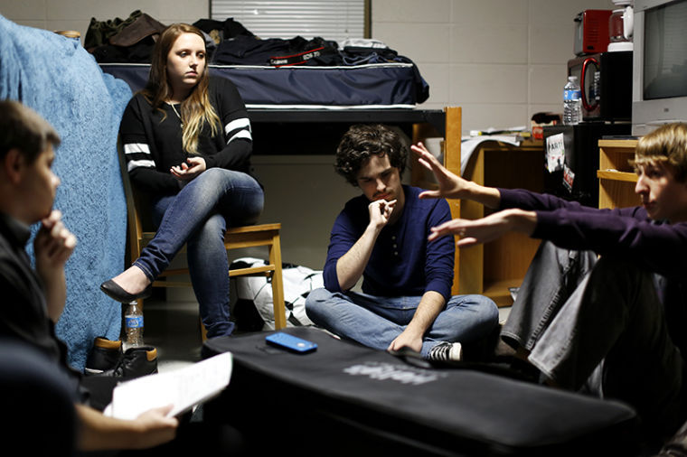 Cincinnati+freshman+Adam+Winkler%28right%29+shares+a+plot+idea+with+his+Film+challenge+team+in+a+dorm+room+in+Poland+Hall.+Winkler+is+the+cinematographer+for+the+team+as+part+of+the+49+Hour+Film+Challenge.+Teams+had+49+Hours+to+write%2C+shoot%2C+and+edit+a+film+together+using+the+provided+genre%2C+dialogue+line%2C+locations%2C+and+prop.+The+competition+started+Friday+November+1+and+was+due+completed+at+7+p.m.+Sunday+November+3%2C+2013.%C2%A0